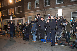 © licensed to London News Pictures. London, UK 03/12/2012. The media waiting outside King Edward VII Hospital for Kate and William to leave after a spokesman announced Duchess of Cambridge is pregnant. Photo credit: Tolga Akmen/LNP