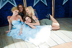 The Spice Girls backstage at the press night of Viva Forever!, a new musical based on the songs of the Spice Girls.