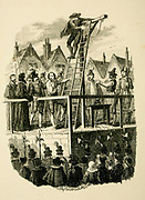Execution of Guy Fawkes From the book ' Guy Fawkes; or, The gunpowder treason. An historical romance ' by William Harrison Ainsworth,, with illustrations on steel by  George Cruikshank. Published in London, by George Routledge and sons, limited in 1841. Guy Fawkes (13 April 1570 – 31 January 1606), also known as Guido Fawkes while fighting for the Spanish, was a member of a group of provincial English Catholics who was involved in the failed Gunpowder Plot of 1605. He was born and educated in York; his father died when Fawkes was eight years old, after which his mother married a recusant Catholic.