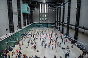 Levee des Conflits is performed in front of visitors - Charmatz's Musée de la danse (dancing museum) perform at the Tate Modern (part of BMW Tate Live)- a dance performance in the Turbine Hall, choreographed by French dancer and choreographer Boris Charmatz - 14 May 2015. A team of 90 dancers will stage free performances throughout the building between 12.00 and 22.00 on Friday 15 and Saturday 16 May. Visitors will also be invited to participate in a warm up, a workshop and an open dancefloor. As part of Musée de la danse in London, Boris Charmatz will also be staging two works and performing at Sadler's Wells from 17 to 23 May.
