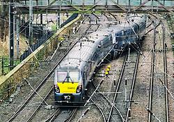 Scotrail passenger train and tracks at  Waverley Station in Edinburgh, Scotland, United Kingdom
