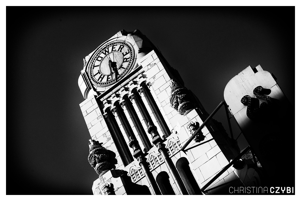 The Streets of Los Angeles: Historic Tower Theatre Clock in Downtown
