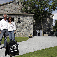 Owners of the threatened Holywell Cafe, Wolfgang and Sybil Dietl outside the cafe in Ballyvaughan.<br /> <br /> Photograph by Yvonne Vaughan.