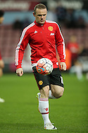 Wayne Rooney, the Manchester United captain during pre match warm up. The Emirates FA cup, 6th round replay match, West Ham Utd v Manchester Utd at the Boleyn Ground, Upton Park  in London on Wednesday 13th April 2016.<br /> pic by John Patrick Fletcher, Andrew Orchard sports photography.