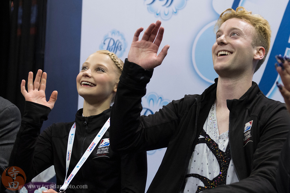 January 4, 2018; San Jose, CA, USA; Nica Digerness and Danny Neudecker smile in the kiss and cry after skating in the pairs short program during the 2018 U.S. Figure Skating Championships at SAP Center.