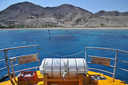 Eilat Israel inflatable life saving raft on a boat