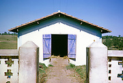 Manure shed on cattle farming area of estate, Fazenda Sant' Anna, Campinas, Brazil, South America 1962