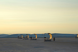 modern shelters in White Sands National Park, New Mexico