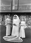 """16/09/1967<br /> 09/16/1967<br /> 16 September 1967<br /> Wedding of Mr Francis W. Moloney, 28 The Stiles Road, Clontarf and Ms Antoinette O'Carroll, """"Melrose"""", Leinster Road, Rathmines at Our Lady of Refuge Church, Rathmines, with reception in Colamore Hotel, Coliemore Road, Dalkey. Image shows the Bride outside the hotel. Matron of Honour Gladys McGloughlin on left."""