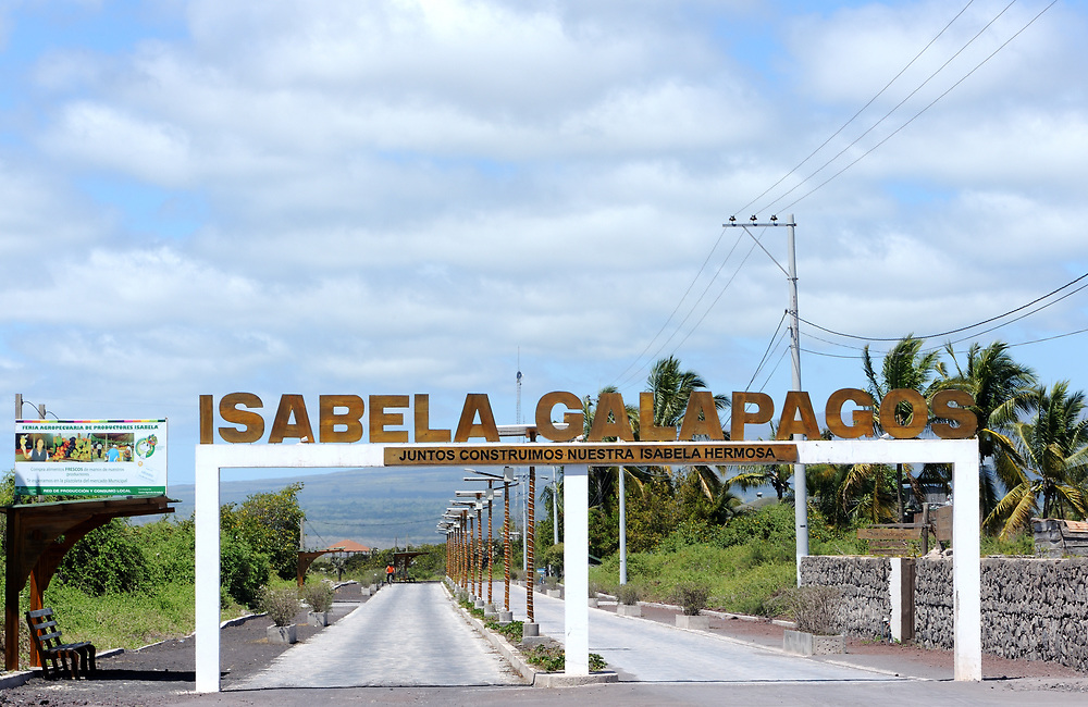 New paved section of the road between the jetty at Playa Isabela and Puerto Villamil. There is an arch with the words 'Isabela Galapagos. Juntos Construimos Nuestra Isabela Hermosa' 'Together we build our beautiful Isabela'. Puerto Villamil, Isabela, Galapagos, Ecuador