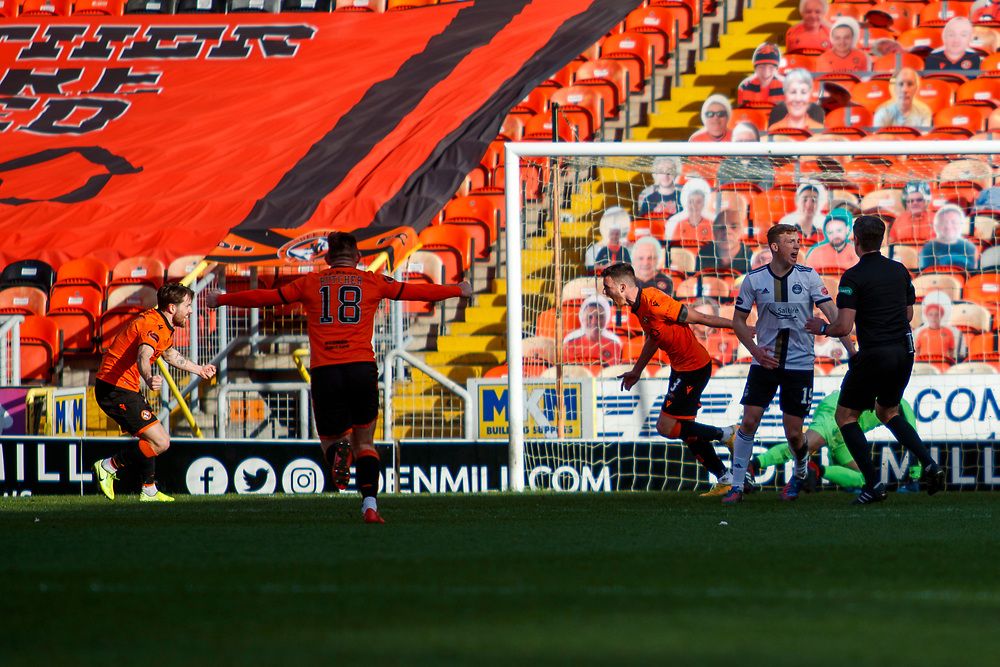 DUNDEE, SCOTLAND, MARCH 20, 2020:  Dundee Utd V Aberdeen FC Ladbrokes SPFL Premiership fixture at Tannadice Park, Dundee.<br /> <br /> Pictured: Adrian Sporle (Dundee Utd Defender) celebrates after scoring<br /> <br /> <br /> (Photo: Newsline Media)