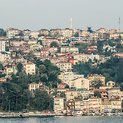 Houses on the European bank of the Bosphorus Strait in Istanbul.