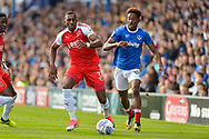 Fleetwood Town Defender, Amari'i Bell (3) and Portsmouth Forward, Jamal Lowe (18) during the EFL Sky Bet League 1 match between Portsmouth and Fleetwood Town at Fratton Park, Portsmouth, England on 16 September 2017. Photo by Adam Rivers.
