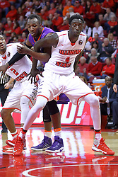 """29 December 2016:  Daouda """"David"""" Ndiaye (4) during an NCAA  MVC (Missouri Valley conference) mens basketball game between the Evansville Purple Aces the Illinois State Redbirds in  Redbird Arena, Normal IL"""