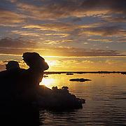 Alaska, Sunset over the Beaufort Sea near Barrow.
