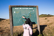 Nature trail map montane grassland and cloud forest environment Horton Plains national park, Sri Lanka, Asia