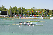 Munich, GERMANY, Final Lightweight men's four as the crews approach the finish line, China [CHN LM4-] Gold medallist, GB Rowing [GBR LM4-] Silver medallist and Germany [GER LM4-] Bronze Medallist,  on Sunday Finals Day, at the FISA World Cup Munich, held on the Olympic Rowing Course, 11/05/2008    [Mandatory Credit Peter Spurrier/ Intersport Images] Rowing Course, Olympic Regatta Rowing Course, Munich, GERMANY