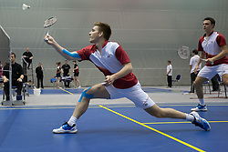 Zvonimir Durkinjak with Zvonimir Hoelbling of Croatia during final match in man doubles at Slovenia Open Badminton tournament 2012, on May 13, 2012, in Medvode, Slovenia. (Photo by Grega Valancic / Sportida.com)