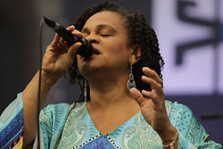 June 17, 2017 - Worms, Rhineland-Palatinate, Germany - Ivorian singer Cecile Verny performs live on stage at the 2017 Jazz and Joy Festival in Worms. (Credit Image: © Michael Debets/Pacific Press via ZUMA Wire)