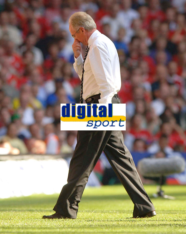 Photo: Henry Browne.<br /> Wales v England. FIFA World Cup Qualifying match.<br /> 03/09/2005.<br /> The game gives Sven Goran Eriksson something to think about.