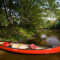 A canoe in the Ashuelot River in Keene, New Hampshire.