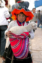 Woman With Lamb At Pisco Market