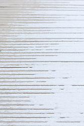 Architectural detail of snow on boardwalk, Trinity River Audubon Center, Dallas, Texas, USA.