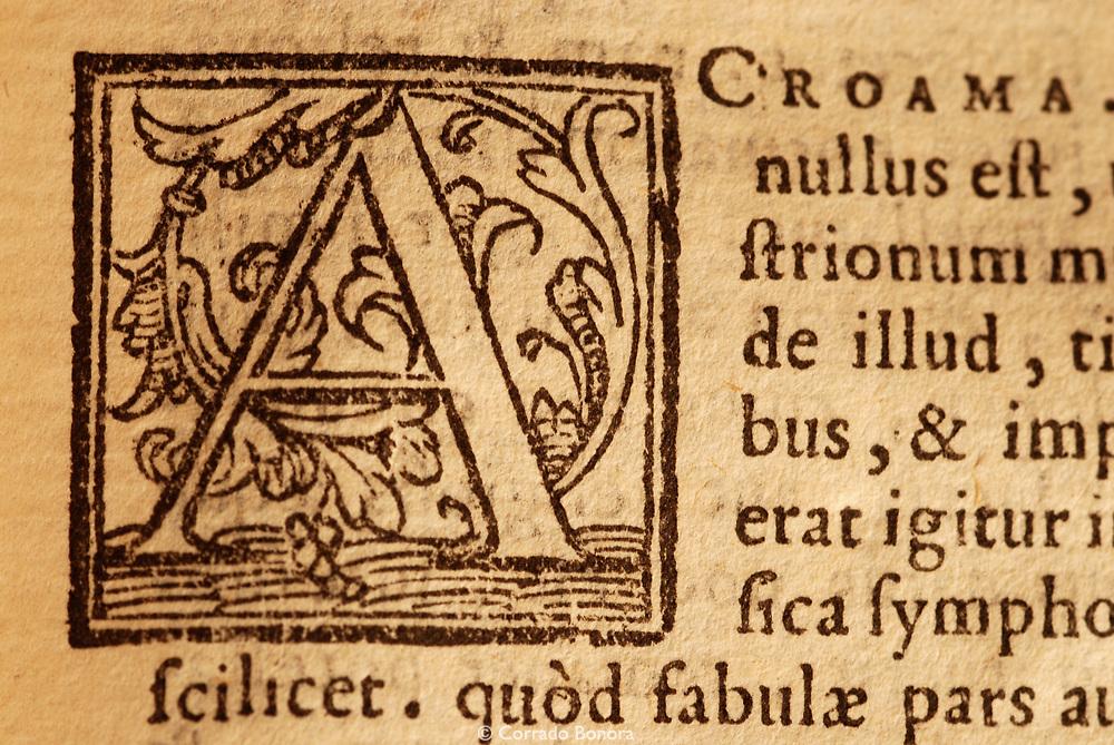 Calepino Dictionary-Ambrogio Ambrosii Calepini Dictionarium...Additamenta Pauli Manutii - Venetiis : apud Nicolaum Beullacquam, 1568 - Detail of Capital letter (private collection)