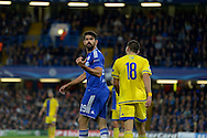 Diego Costa of Chelsea gestures . UEFA Champions League group G match, Chelsea v Maccabi Tel Aviv at Stamford Bridge in London on Wednesday 16th September 2015.<br /> pic by John Patrick Fletcher, Andrew Orchard sports photography.