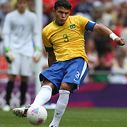 Thiago Silva, Brazil, in action during the Brazil V Mexico Gold Medal Men's Football match at Wembley Stadium during the London 2012 Olympic games. London, UK. 11th August 2012. Photo Tim Clayton