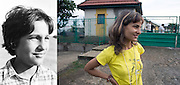 Ramona Stanica when she was 12 in 1997 and in 2009 in front of the ex-orphanage. She came back for a visit to see Dan, her ex-carer, and some friends. She works in a bakery in a small town near Iasi.