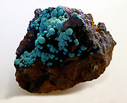 Turquoise.  Blue-green small spheres with hisingerite.  West Phoenix Mine, Linkinhorn, Cornwall.