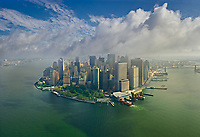 Aerial view of Hudson river in Manhattan during cloudy day, New York, USA