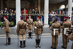 Windsor, UK. 18 May, 2019. Princess Anne, Princess Royal, watches from the Guildhall as the Household Cavalry exercise their right to a Freedom of Entry March through Windsor by way of a farewell to the town where they have been based for over 200 years in advance of their relocation to Salisbury Plain later this year. The march comprised up to 250 marching troops, 8 mounted troops, the Band of the Household Cavalry and veterans.
