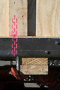 painted indication for chain to hold box during transportation and lift during lifting of the load