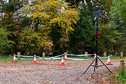 © Licensed to London News Pictures. 24/10/2020. Watlington Hill, UK. Police cordon tape marks an area in a carpark in the Watlington Hill National Trust Estate. A murder investigation has been launched by Thames Valley Police after the body of a woman in her sixties was located in woodland in the Watlington Hill National Trust Estate at approximatly 5:53pm on Friday 23/10/2020. Photo credit: Peter Manning/LNP