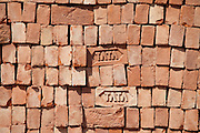 TATA bricks stacked,Varanasi, Benares, Northern India