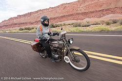Cris Sommer Simmons of Hawaii riding her 1915 Harley-Davidson during the Motorcycle Cannonball Race of the Century. Stage-12 ride from Page, AZ to Williams, AZ. USA. Thursday September 22, 2016. Photography ©2016 Michael Lichter.