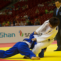 Mami Umeki (in white) of Japan and Rika Takayama (in blue) of Japan fight during the Women -78 kg category at the Judo Grand Prix Budapest 2018 international judo tournament held in Budapest, Hungary on Aug. 12, 2018. ATTILA VOLGYI