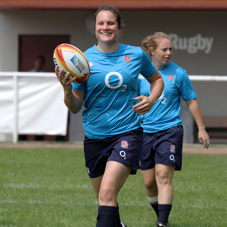 Becky Essex during training. WRWC England training Stade Montelievres, Saintry, France on 31 July 2014.