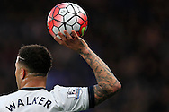 Kyle Walker of Tottenham Hotspur prepares to take a throw-in. Barclays Premier league match, Chelsea v Tottenham Hotspur at Stamford Bridge in London on Monday 2nd May 2016.<br /> pic by Andrew Orchard, Andrew Orchard sports photography.
