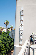 The Alhambra theatre building and sign, Jerusalem Boulevard, Jaffa, Israel. This building is now owned and used by the church of Scientology