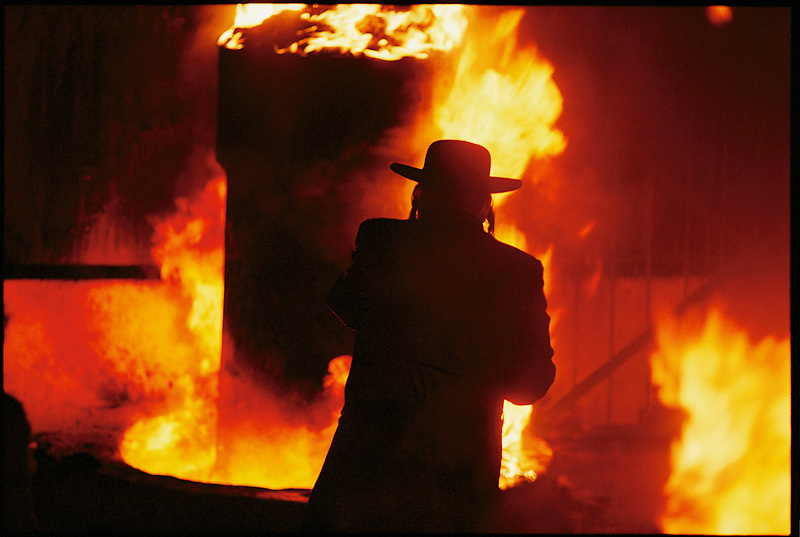 Hasidic Jews celebrate Lag b'Omer with a traditional bonfire.