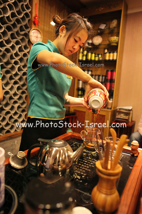 China, Tianjin Dr. Tea Teahouse Brewing tea