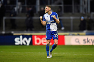 Goal scorer Alfie Kilgour (15) of Bristol Rovers celebrates the 2-1 win at full time during the EFL Sky Bet League 1 match between Bristol Rovers and Blackpool at the Memorial Stadium, Bristol, England on 15 February 2020.