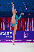 Peschel Noemi during the qualification of the clubs at the Pesaro World Cup 2018.Noemi is a German gymnast born in 2001. Her dream is to compete to compete at the 2020 Olympic Games in Tokyo.