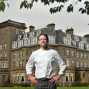 Chef Andrew Fairlie outside the Gleneagles Hotel in Perthshire.  Picture Robert Perry 7th Feb 2015<br /> <br /> Must credit photo to Robert Perry<br /> FEE PAYABLE FOR REPRO USE<br /> FEE PAYABLE FOR ALL INTERNET USE<br /> www.robertperry.co.uk<br /> NB -This image is not to be distributed without the prior consent of the copyright holder.<br /> in using this image you agree to abide by terms and conditions as stated in this caption.<br /> All monies payable to Robert Perry<br /> <br /> (PLEASE DO NOT REMOVE THIS CAPTION)<br /> This image is intended for Editorial use (e.g. news). Any commercial or promotional use requires additional clearance. <br /> Copyright 2014 All rights protected.<br /> first use only<br /> contact details<br /> Robert Perry     <br /> 07702 631 477<br /> robertperryphotos@gmail.com<br /> no internet usage without prior consent.         <br /> Robert Perry reserves the right to pursue unauthorised use of this image . If you violate my intellectual property you may be liable for  damages, loss of income, and profits you derive from the use of this image.