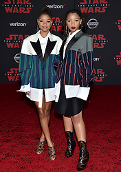 Chloe Bailey and Halle Bailey attend the world premiere of Disney Pictures and Lucasfilm's 'Star Wars: The Last Jedi' at The Shrine Auditorium on December 9, 2017 in Los Angeles, CA, USA. Photo by Lionel Hahn/ABACAPRESS.COM