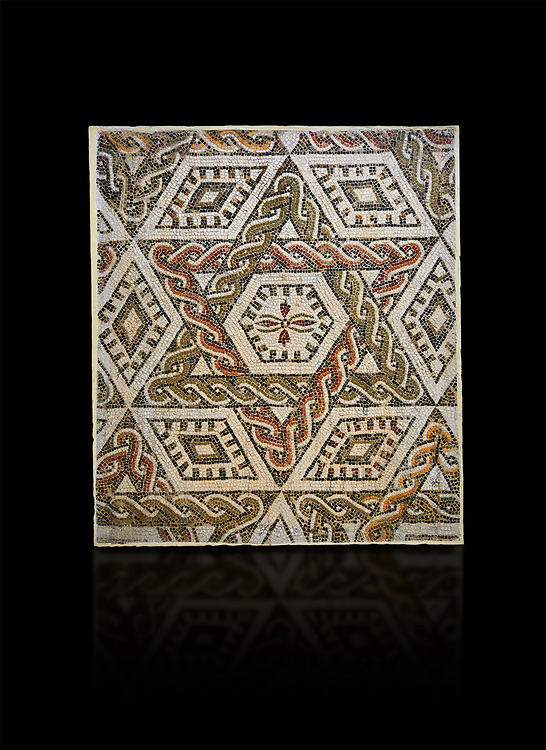 Pictures of a geometric Roman mosaics with a hexagon at its centre in the middle of which is a cruciform of flowers, from the ancient Roman city of Thysdrus, house in the M'Barek R'Haiem area. Begining of 3rd century AD. El Djem Archaeological Museum, El Djem, Tunisia. Against a black background .<br /> <br /> If you prefer to buy from our ALAMY PHOTO LIBRARY Collection visit : https://www.alamy.com/portfolio/paul-williams-funkystock/roman-mosaic.html . Type - El Djem - into the LOWER SEARCH WITHIN GALLERY box. Refine search by adding background colour, place, museum etc<br /> <br /> Visit our ROMAN MOSAIC PHOTO COLLECTIONS for more photos to download as wall art prints https://funkystock.photoshelter.com/gallery-collection/Roman-Mosaics-Art-Pictures-Images/C0000LcfNel7FpLI