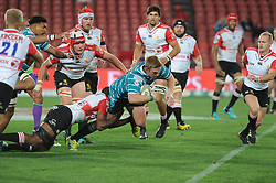 South Africa - Johannesburg, Emirates Airlines Park. 24/08/18  Currie Cup. Lions vs Griquas. Griquas captain Kyle Steyn is tackled by a Lions player. <br /> 2nd half.  Picture: Karen Sandison/African News Agency(ANA)